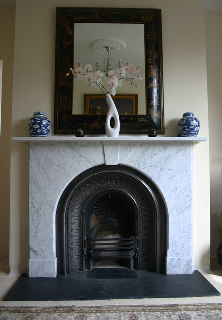 Victorian Marble Fire Surround With Arched Cast Iron Grate Traditional Living Room