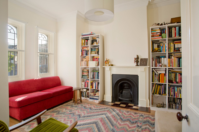 Inspiration For A Small Victorian Enclosed Light Wood Floor Living Room  Library Remodel In Sydney With