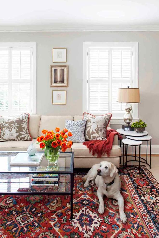 Mid-sized elegant formal and enclosed medium tone wood floor living room photo in Atlanta with gray walls