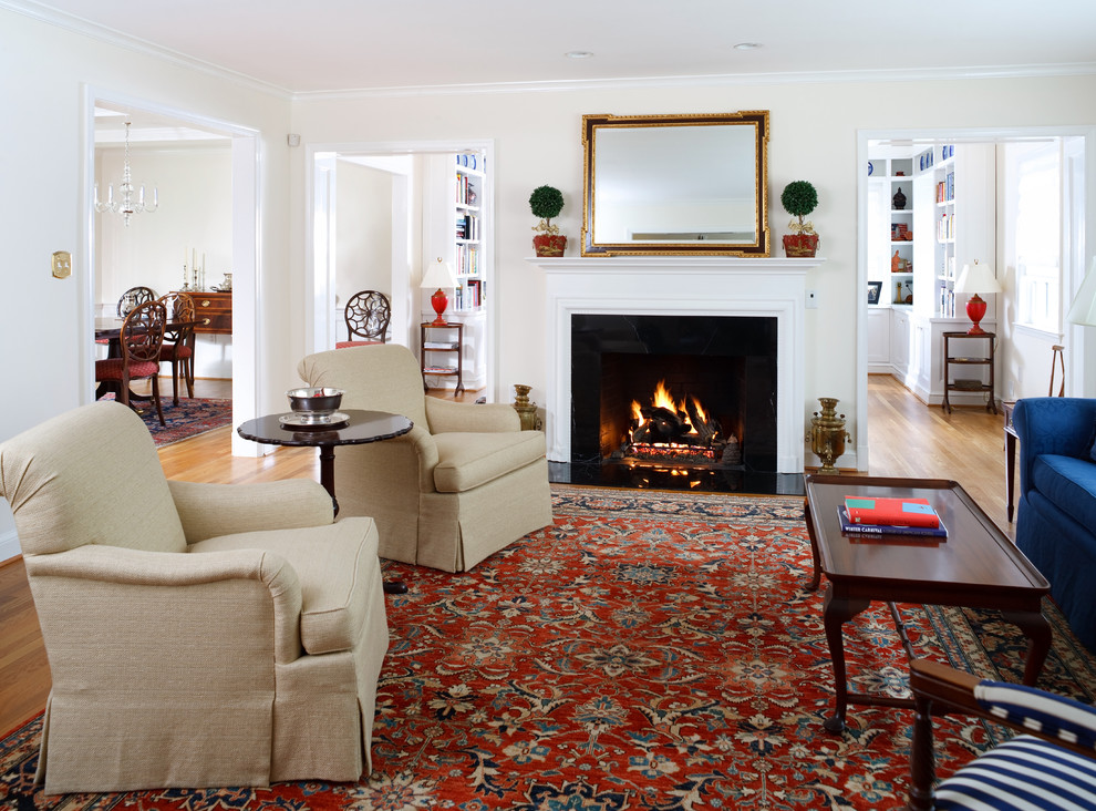 Living room - traditional living room idea in DC Metro with a standard fireplace