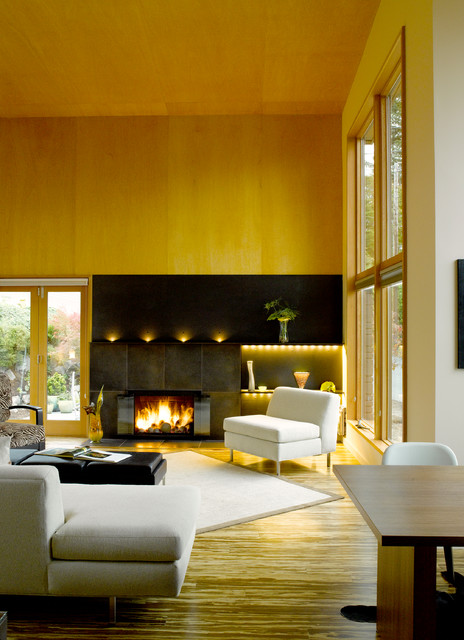 modern living room by Adams Mohler Ghillino Architects