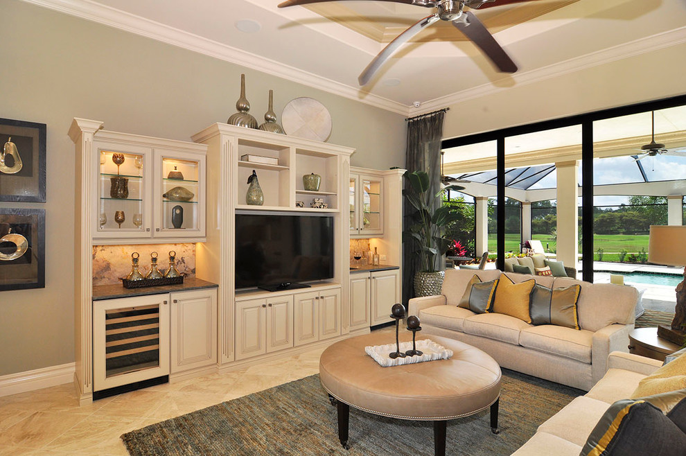 Example of a classic living room design in Miami with beige walls and a tv stand