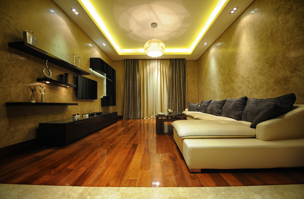 Example of a mid-sized minimalist medium tone wood floor living room design in Other