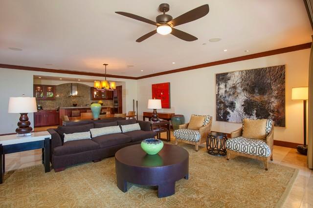 Living room - tropical living room idea in Hawaii