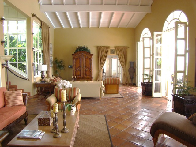 Villa Mille Fleurs St Martin French West Indies Tropical Living Room