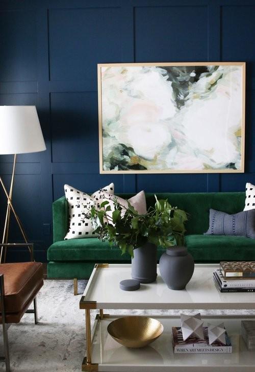 Living room - mid-sized transitional medium tone wood floor living room idea in Salt Lake City with blue walls