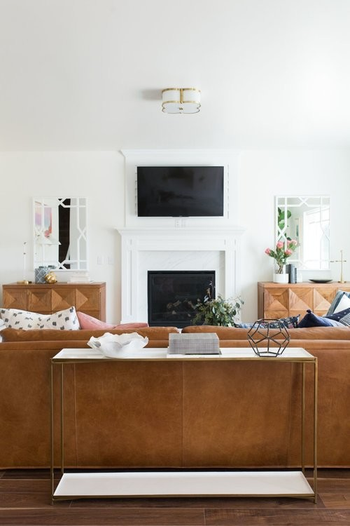 Mid-sized transitional open concept medium tone wood floor living room photo in Salt Lake City with white walls and a standard fireplace