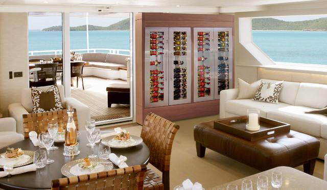 custom wine cellar in yacht living room contemporary living room los angeles by vinotemp