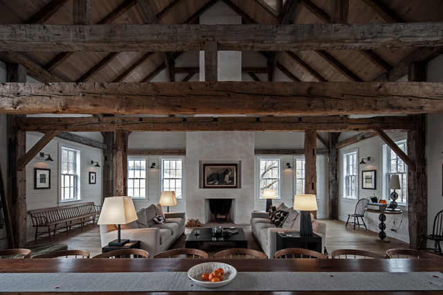 Vintage barn frame addition to dutch stone house for House plans of barns with living space
