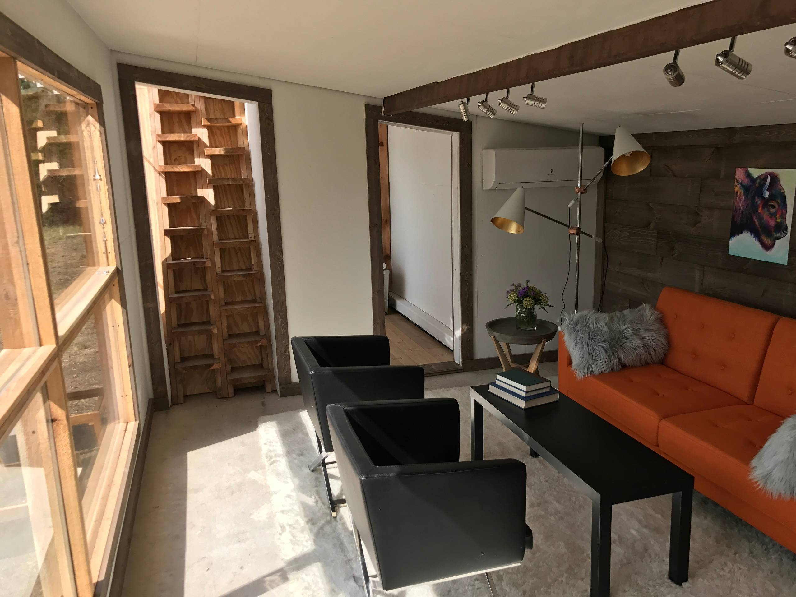 Vintage bison shed and shipping container tiny home
