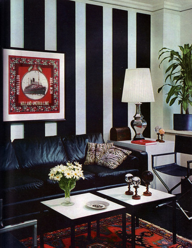 Vintage Black-and-White Striped Chic eclectic-living-room