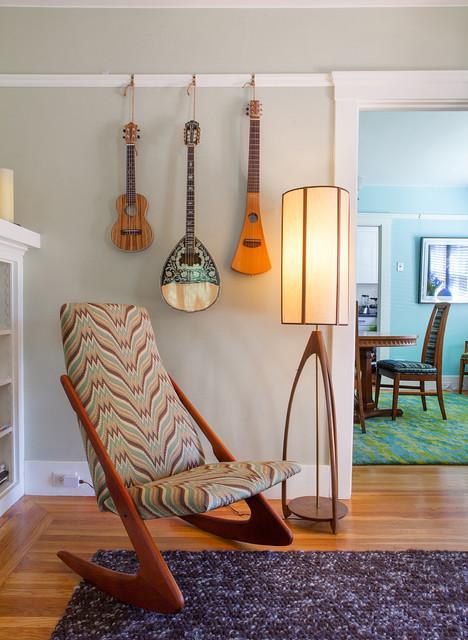 Vintage bungalow mid century modern rocker by kimball starr interior design midcentury living