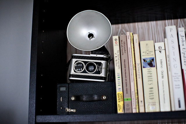 Vintage Camera in Bookcase Display eclectic-living-room