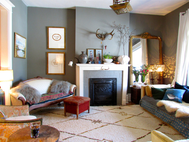 Example Of An Eclectic Living Room Design In Toronto With Gray Walls And A  Standard Fireplace