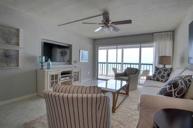 Vintage Florida Beach Condo Gets A Transitional Remodel Beach Style Living Room Tampa By