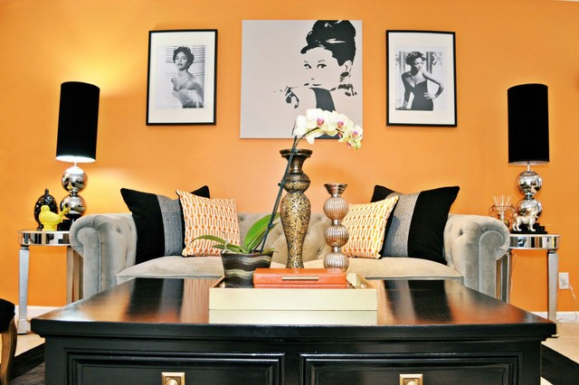Vintage glam living and dining room eclectic living for Glam living room ideas