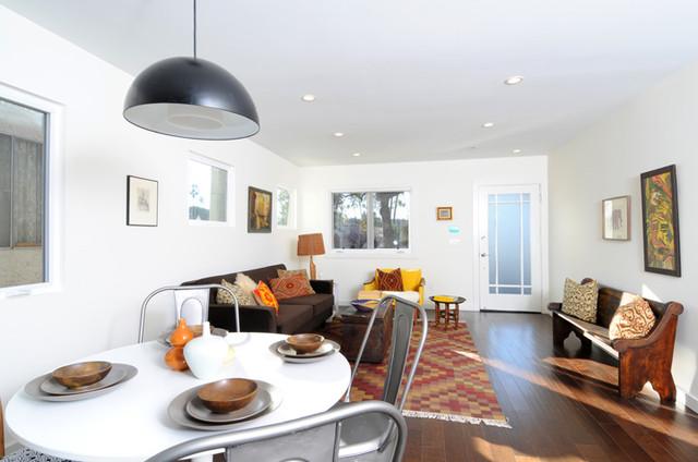 Vintage Global Modern Living Dining Room With Kilim Rug