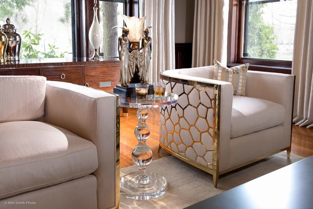 Vintage meets contemporary hollywood glam transitional for Glam modern living room