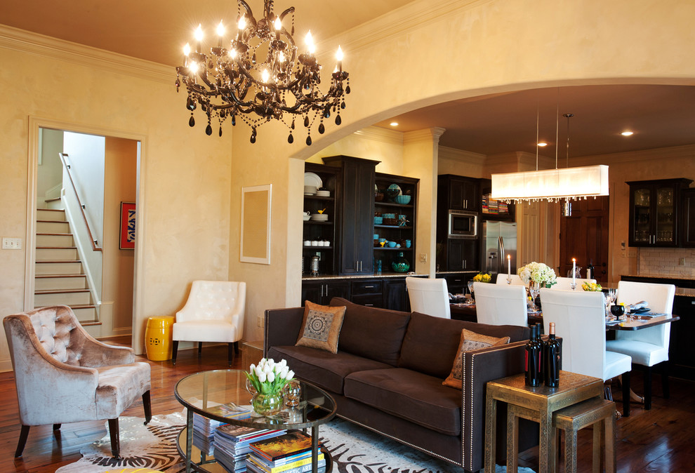 Example of a transitional living room design in New Orleans
