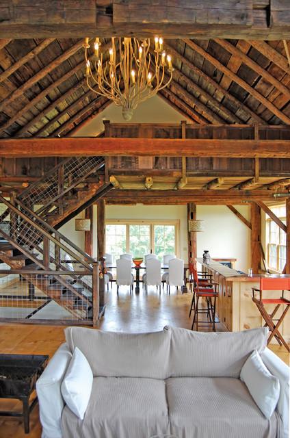 Vintage Timber Frame Barn Addition Farmhouse Living