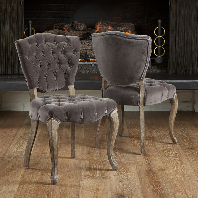 Violetta tufted charcoal fabric dining chairs set of 2 modern living room los angeles - Grey fabric dining room chairs designs ...
