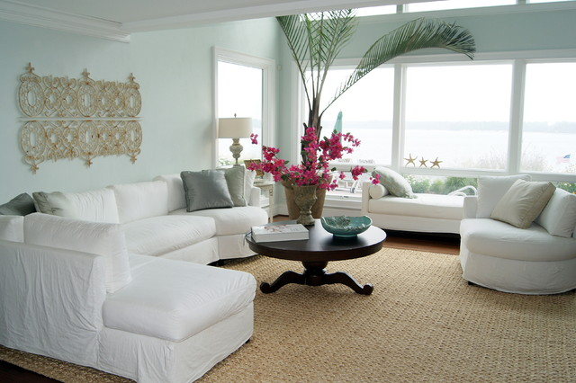 Virginia Beach Coastal Home tropical living room