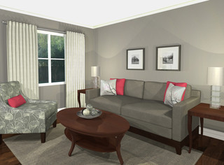 virtual design living room grey pink contemporary living room