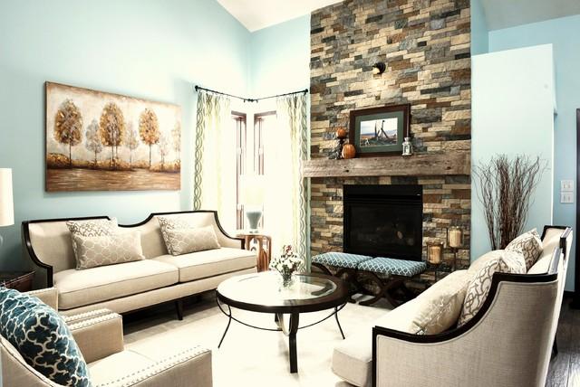 Visiting Room Fireplace - Transitional - Living Room - Birmingham ...