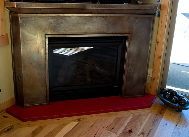 Volcanic Stainless Steel Fireplace Surround Gray Ash Contemporary Living Room Portland