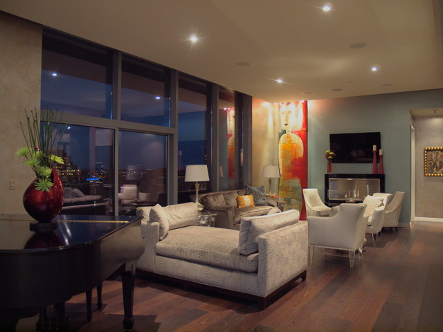 W penthouse condo contemporary living room austin for W living room austin