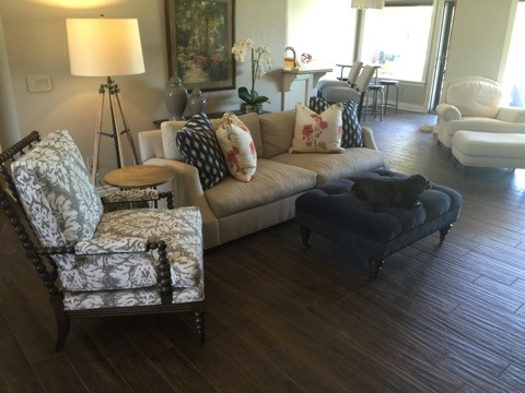 Inspiration for an eclectic living room remodel in Oklahoma City with gray walls