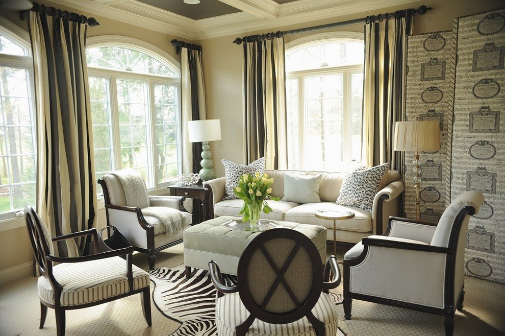 Inspiration for a timeless living room remodel in DC Metro with beige walls