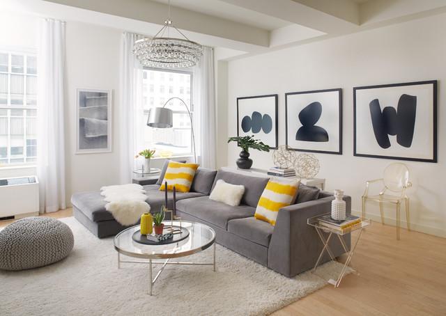 Wall street loft - Yellow and gray home decor ...