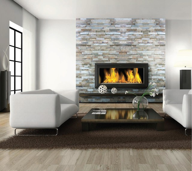 Wall Treatment Slate Marble Contemporary Living Room