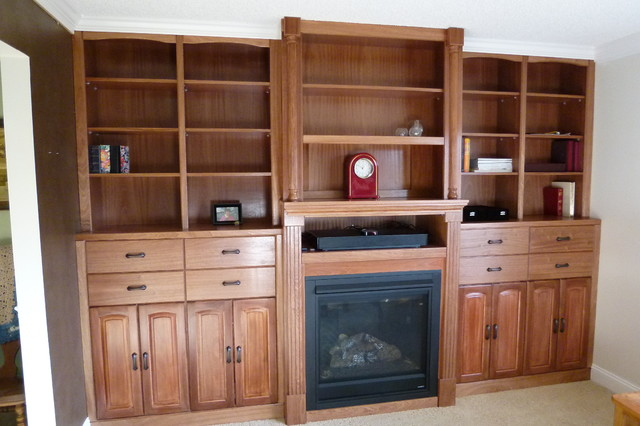 wall unit surrounding fireplace traditional living
