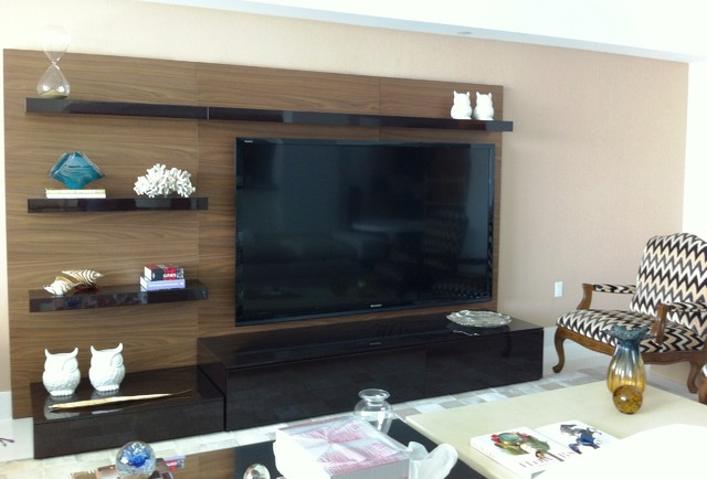 Wall units and home theater installation contemporary living room miami by polymark - Living room home theater ...