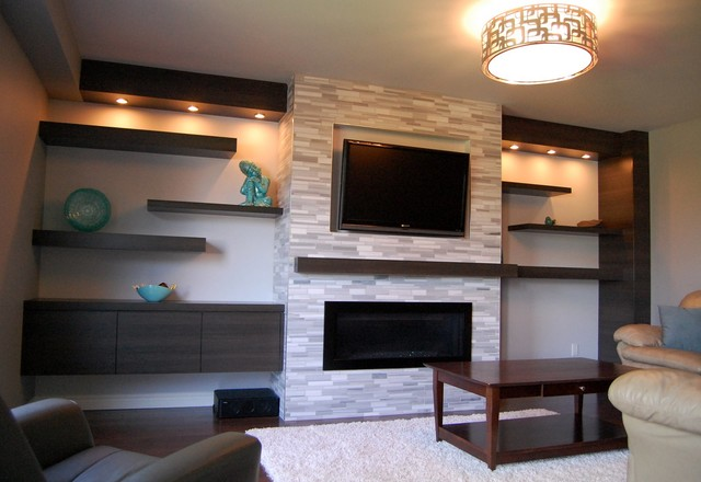 Charming Wall Units Contemporary Living Room
