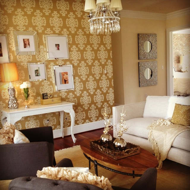 Houzz Living Rooms Traditional: Wallpaper Spring 2013