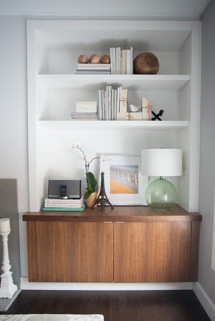 Walnut and white cabinets contemporary-living-room