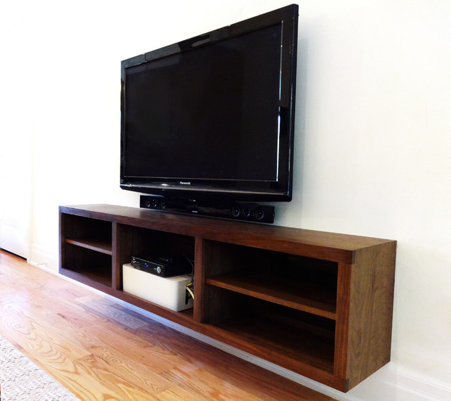 Walnut entrance cabinet and floating t.v. console - Modern - Living Room - toronto - by Corner ...