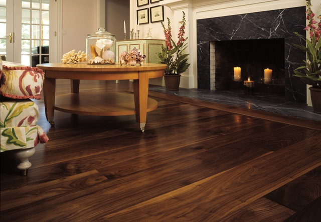 Walnut wide plank floor traditional living room new for Wide plank wood flooring