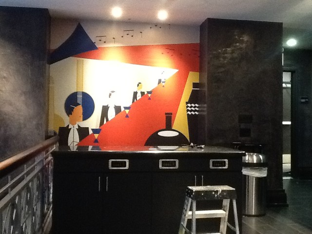 Walter 39 s jazz lounge mural by atadesigns at the lexington for Jazz living room ideas