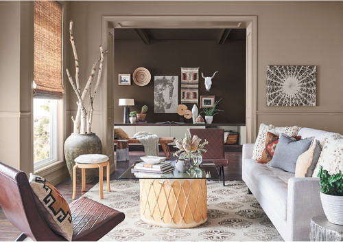 Photo by Sherwin-Williams with a color palette featuring Cavern Clay SW 7701 accents and Moth Wing SW 9174.