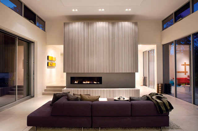 Modern Living Room With Fireplace warm and modern fireplace - modern - living room - san francisco