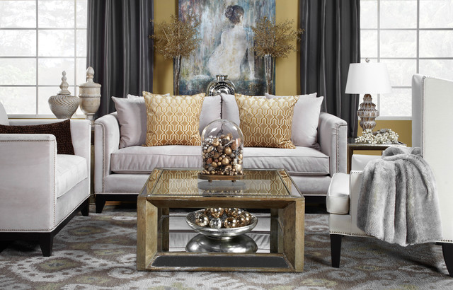 Warm and welcoming contemporary living room by z for Metallic living room ideas