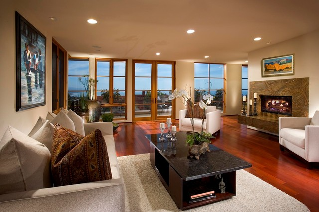 warm contemporary in dana point, ca. - transitional - living room