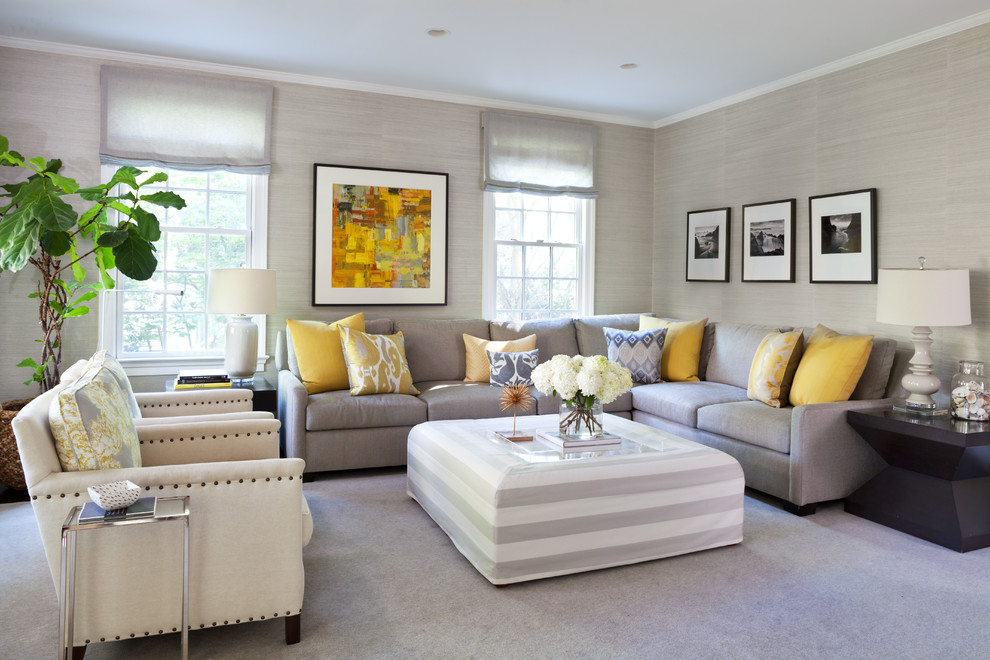 Example of a transitional carpeted living room design in DC Metro with gray walls