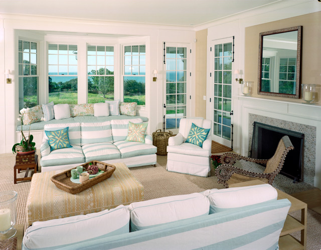 Waterfront Shingle Style Home traditional-living-room