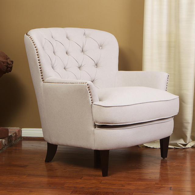 Watson natural linen upholstered club chair modern - Modern upholstered living room chairs ...