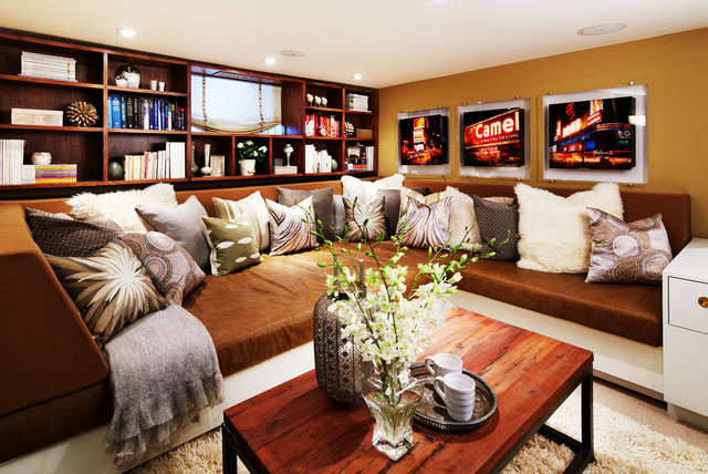 Trendy living room photo in Toronto with yellow walls : built in sectional - Sectionals, Sofas & Couches
